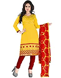 Yehii Top 10 Collection Embroidered Yellow Chanderi Unstitched Branded Dress Materials With Dupatta for Ladies party Wear Low Price Best Seller Offers