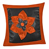 BIG LILY FLOWER PATCH CUSHION COVER BLACK & RUST 1 PC (40 X 40 CMS)