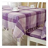 Ustide Mediterranean Tablecloth Purple Plaid With Tassels Table Clothes Double Sided Printed Fabric Desk Cover Kitchen Table Cover,Oblong/Rectangle