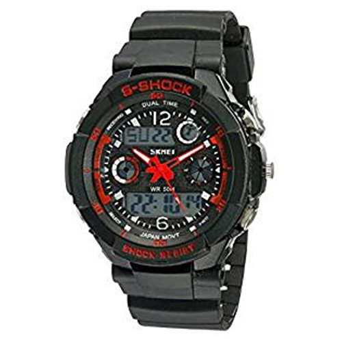 Multi Function Military S-shock Sports Watch LED Analog Digital Waterproof Alarm (Red) (Old Ps3 compare prices)