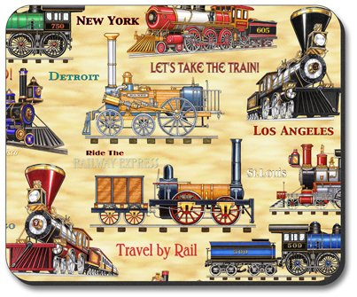 Decorative Mouse Pad Travel by Rail Train