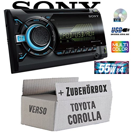 Toyota Corolla Verso silber - Sony WX800UI - 2DIN CD/MP3/USB Autoradio - Einbauset