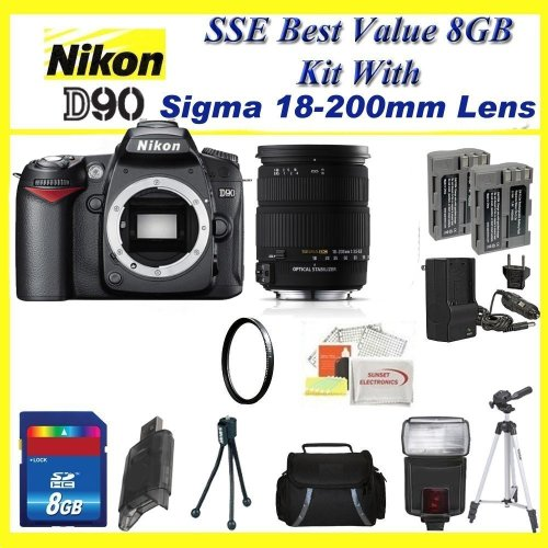 Nikon D90 SLR Digital Camera with Sigma 18-200mm OS Lens with 2x Extended Life Batteries + Uv Filter + 8gb Sdhc Memory Card & Much More!!