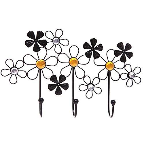 Decorative Floral Design Black Metal Coat Rack / Wall Mounted Clothes Hook Hanger - MyGift®