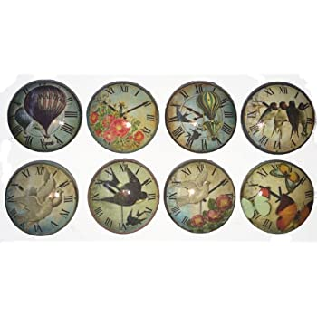 Set of 8 Vintage Essense of Time Clock Dresser Drawer Cabinet Knobs