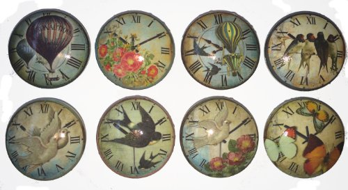 Set of 8 Vintage Essense of Time Clock Dresser Drawer Cabinet Knobs 0