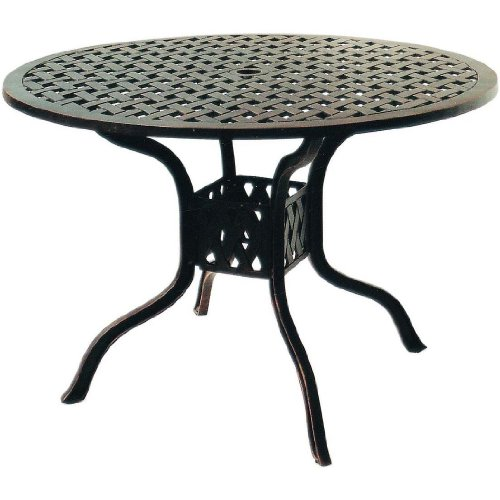 Darlee Series 30 Cast Aluminum Outdoor Patio Dining Table - 42 Inch Round - Antique Bronze