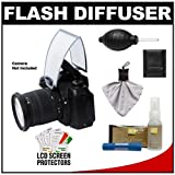 Zeikos Universal Soft Screen Pop-Up Flash Diffuser plus Cleaning Accessory Kit for Nikon D3000, D3100, D5000, D7000, D90, D300s, D3, D3s, D3x Digital SLR Cameras