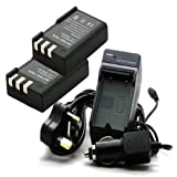 TOP-MAX Fast Travel Charger + Sets of 2 Battery Replacement For Nikon D3000 D5000 D60 D40x D40 and More Cameras