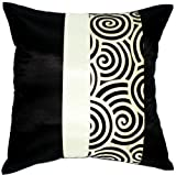 Artiwa Black & Cream Spiral 16x16 Silk Couch Bedroom Decorative Pillow Cover Gift Idea