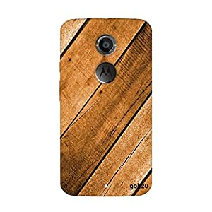 Gobzu Printed Back Covers for Moto X2 / Moto X (2nd Gen) - Wood Light Brown