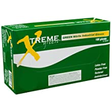 Ammex XNGPF Xtreme Green Nitrile Glove, Latex Free, Disposable, Powder Free