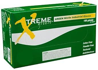 Ammex XNGPF Xtreme Green Nitrile Glove, Latex Free, Disposable, Powder Free