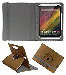 Acm Designer Rotating 360° Leather Flip Case For Hp Slate 8 Plus Tablet Stand Premium Cover Golden