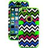 myLife (TM) Lime Green + Colorful Chevron 3 Layer (Hybrid Flex Gel) Grip Case for New Apple iPhone 5C Touch Phone... by myLife Brand Products