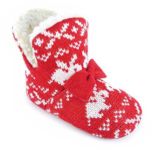 Pantofole Bambini Coniglio design maglia e Papillon funzione caldo lana foderata Pantofole, rosso (Red), 31 EU Bambino