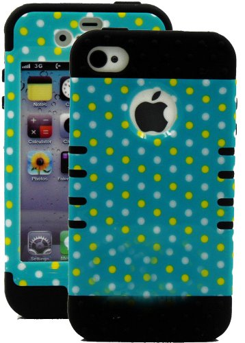 Mylife Black - Colorful Polka Dot Series (3 Piece Protective) Hard And Soft Case For The Iphone 4/4S (4G) 4Th Generation Touch Phone (Fitted Front And Back Solid Cover Case + Internal Silicone Gel Rubberized Tough Armor Skin)