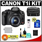 Canon EOS Rebel T1i 15.1MP Digital SLR Camera (Black) with Canon EF-S 18-55mm IS Lens + 8GB Card + LP-E5 Battery + Case + Accessory Kit