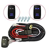 MICTUNING 12ft LED Light Bar Wiring Harness - 40Amp Relay 30Amp Fuse Laser BLUE ON-OFF Rocker Switch (REAR LIGHTS)