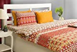 House This 100% Cotton 1 Single Bed Sheet & 1 Pillow Cover Boho Brick Red