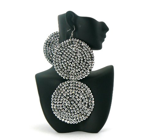 Silver Circle Poparazzi Iced Out Light Weight Basketball Wives Earrings Lady Gaga Paparazzi