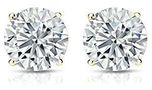 Diamond Impressions DI2006319 Certified 3.9 Ct. 14k Yellow Gold Round Brilliant Diamond Stud Earrings D-E VVS1