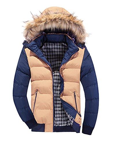 LaoZan Uomo Inverno Moda Giacca con cappuccio Slim Fit Cappotto invernale Parka XL Khaki Blu