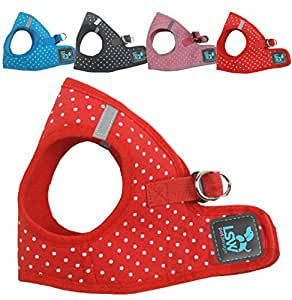 No Pull Small Dog - Pet Harness - Breathable Step In Dotty Spotty Harness Red Small (LSW Pet Design)