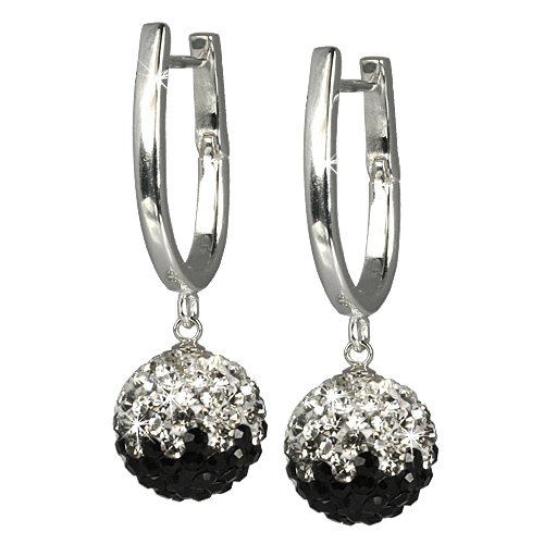SilberDream Glitter Earring Swarowski Elements black and white, 925 Sterling Silver GSO004