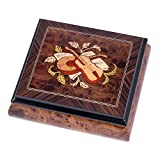 Italian Hand Inlaid Hardwood Musical Jewelry Box - Plays Piano Concerto No. 1 Op. 23 in B Flat Minor