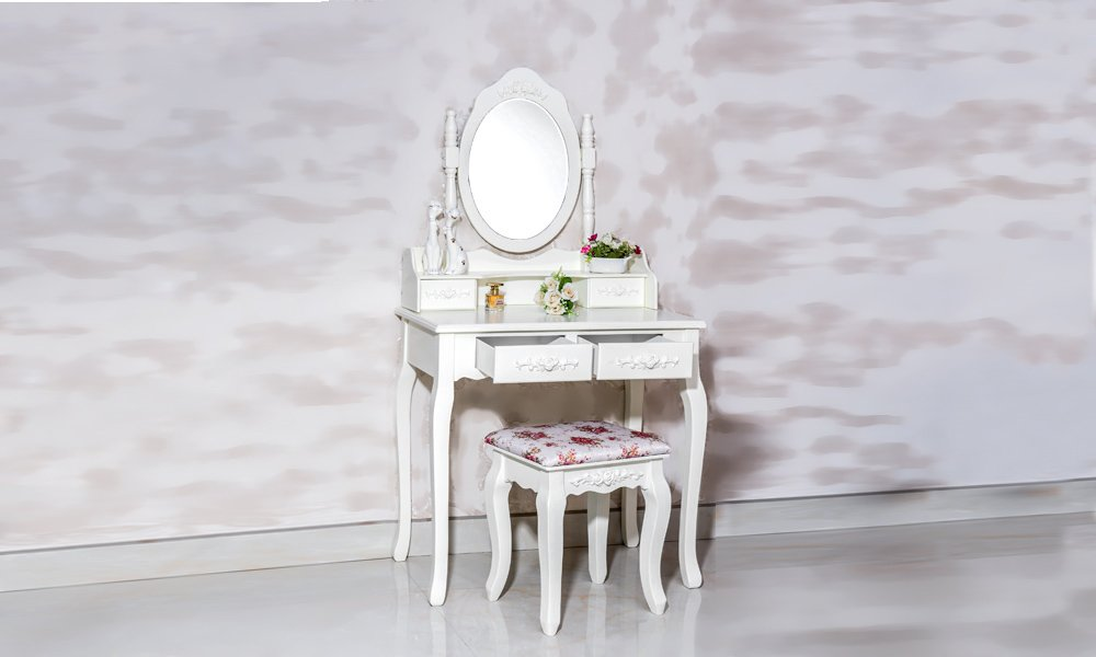 Gorgeous White Label Nefertiti Vanity Table with free stool (4 Drawer) 1