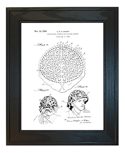 "Camouflaging Covering For Military Helmets Patent Art White Matte Print in a Solid Pine Wood Frame (24"" x 36"")"