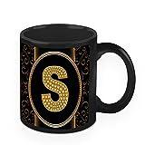 HomeSoGood Skilled Letter S Black Ceramic Coffee Mug - 325 Ml
