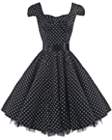 Pretty Kitty Fashion 50s Polka Dot Black Vintage Swing Prom Pin-Up Tea Dress - SIZES UK 8-26