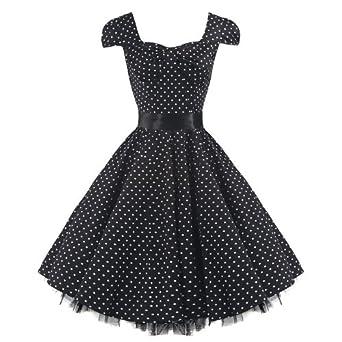 Pretty Kitty Fashion 50s Polka Dot Black Vintage Swing Prom Pin-Up Tea Dress (4xl = 22)