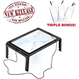 MagniPros® Hands-free Full Page Magnifier for Reading with LED Lights - Powerful 3x Magnification - Has Flip Out Legs That Can Stand Over Document - Comes with Neck Cord to Hang It Around Neck and 3 Bookmark or Credit Card Magnifiers of Your Choice (Come with 3 Bookmark Magnifiers)
