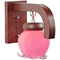 Nogaiya Wood And Glass Wall Lighting Fixture (Pink, 30 Watt)