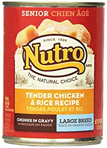 The Nutro Company Large Breed Senior Dog Food Can with Chicken and Rice Formula, 12.5-Ounce (Pack of 12)