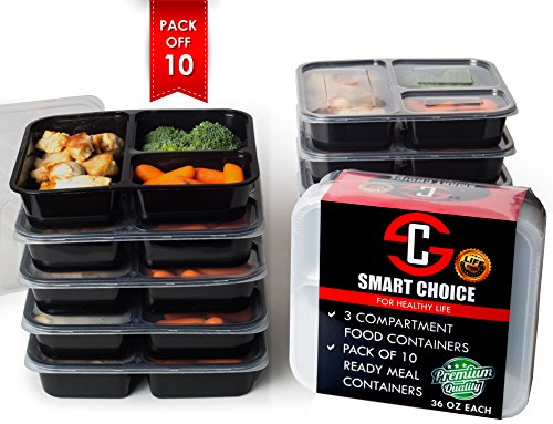 3 Compartments Meal Prep & Food Storage Sets (pack of 10) BPA Free Plastic, FDA Approved Reusable Lunch containers(36 OZ) Microwavable & Freezer Safe- Perfect Portions Control & Great for 21 Day Fix (Salad Bar Tupperware compare prices)