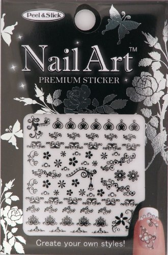 Nail-Art Sticker Floral Design NSA-14-Black