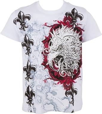 Sakkas Tête d'aigle et Fleur de Lys En relief argent métallique Manches courtes Col rond Coton T-Shirt Fashion homme- White / Small