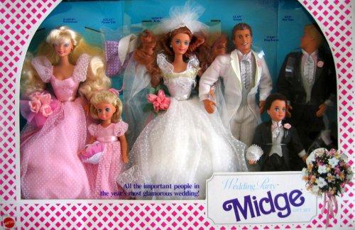 Barbie Wedding Party MIDGE Gift Set w 6 Dolls: Barbie, Ken, Midge, Allen, Kelly & Todd (1990) (Old Barbies compare prices)