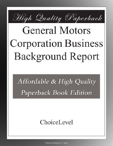general-motors-corporation-business-background-report