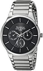 Armitron Men's 20/5011BKSV Multi-Function Black Dial Stainless Steel Bracelet Watch