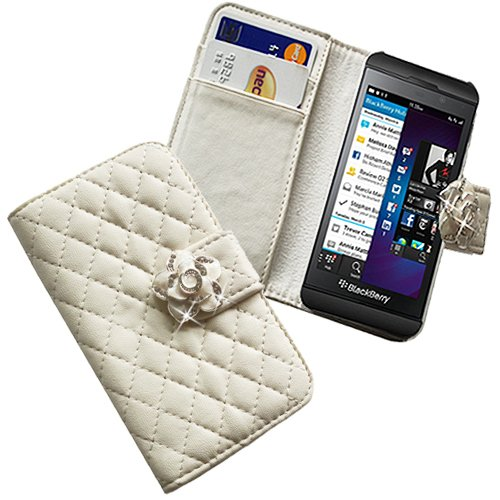 Xtra-Funky Exclusive Faux Leather Flip Purse Wallet Style Case With Embedded Crystal Rose On Magnetic Closing Strap For Blackberry Z10 - White