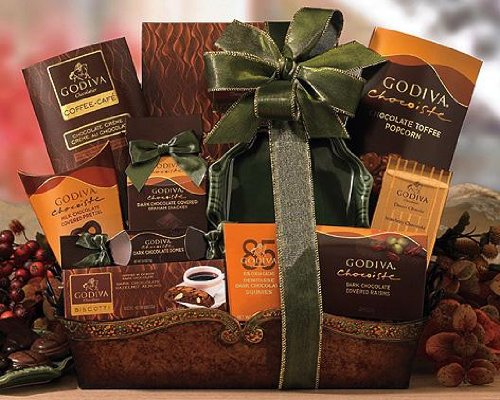 Send Fresh Cut Flowers - Godiva Collection Mixed Gift Basket