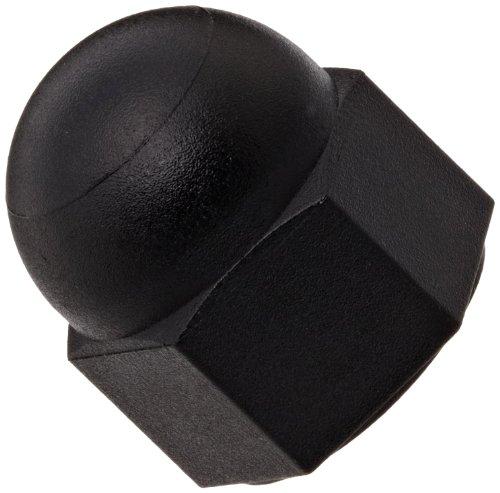 Nylon 6/6 Acorn Nut, Plain Finish, Black, Right Hand Threads, Meets DIN 1587, Class 2B M10-1.5 Threads, 10mm Width Across Flats (Pack of 25)