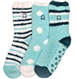 Noble Mount Womens (3 Pairs) Soft Anti-Skid Fuzzy Winter Crew Socks