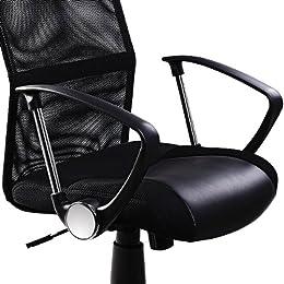 Fauteuil chaise de bureau noir ergonomique rembourré Dossier Hauteur ajustable