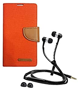 Aart Fancy Wallet Dairy Jeans Flip Case Cover for MotorolaMotorola-MotoG (Orange) + Zipper Earphones/Hands free With Mic *Stylish Design* for all Mobiles- computers & laptops By Aart Store.